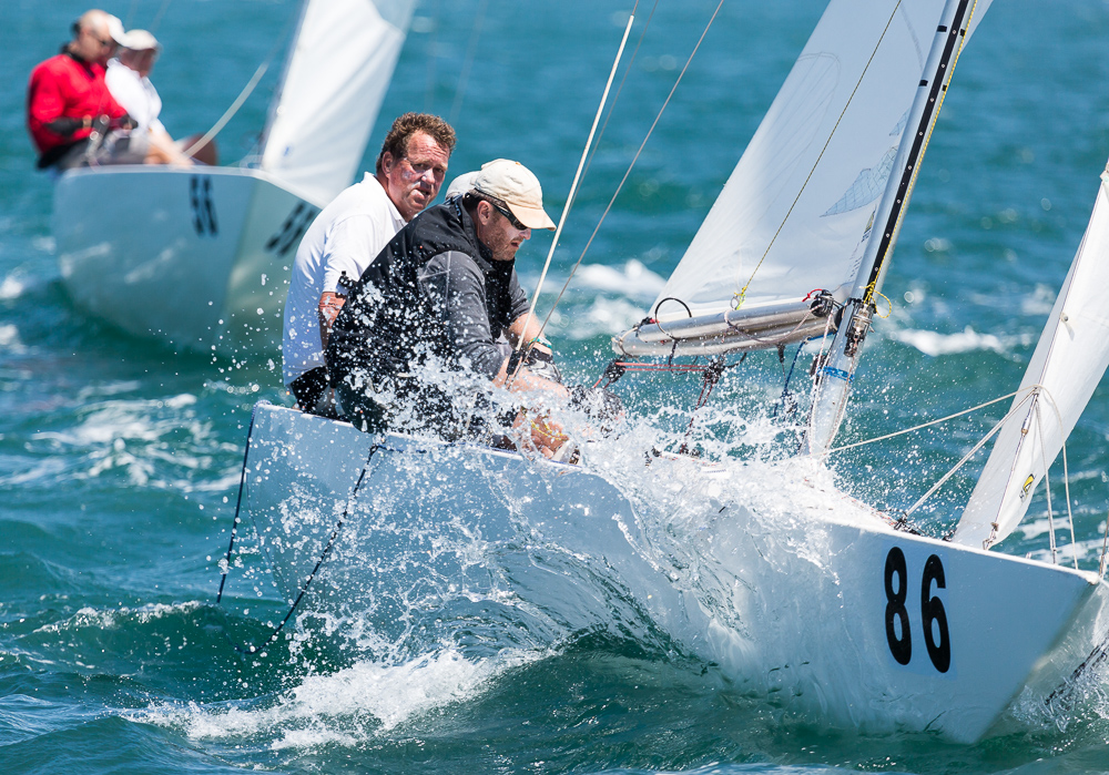 David Rose, Peter Hilldyard, Bruce Miethke on a borrowed boat back out racing after a break.