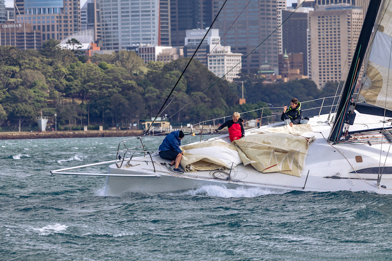Bow work in windy Conditions at the CYCA Winter Series.
