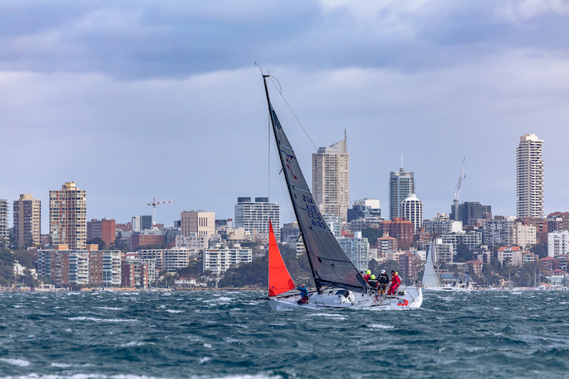Foreign Affairs sails in windy conditions at the CYCA Winter Series.