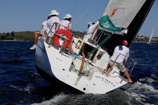 Olympia sailing on the Swan River in Perth, WA