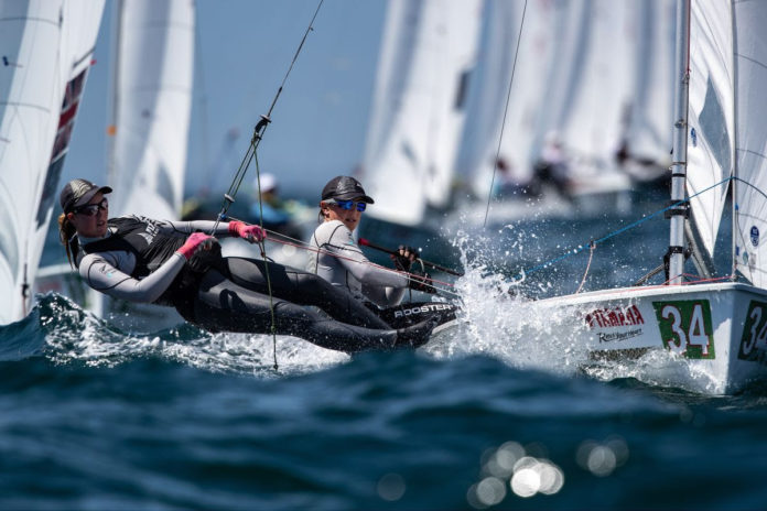 Susannah Pyatt and Brianna Reynolds-Smith finished 15th at the 470 world championships and qualified the boat for New Zealand for the Tokyo Olympics. Photo: Junichi Hirai / Bulkhead Photography.