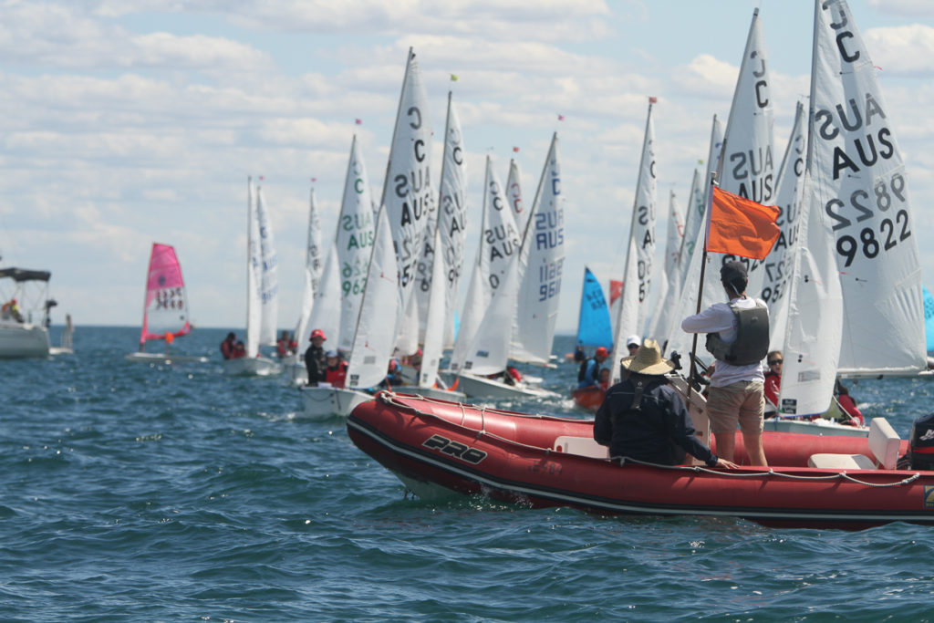 The International Cadet fleet is showing strong numbers for Sail Sandy