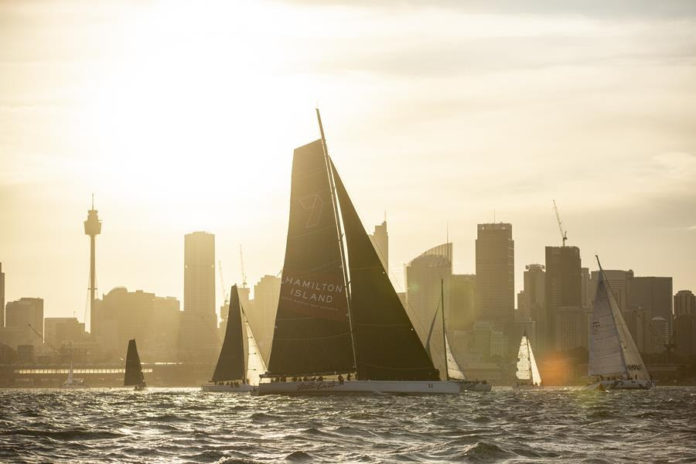 Wild Oats XI is the race record holder and will battle with two other super maxis in the Cabbage Tree Island Race. Credit - CYCA