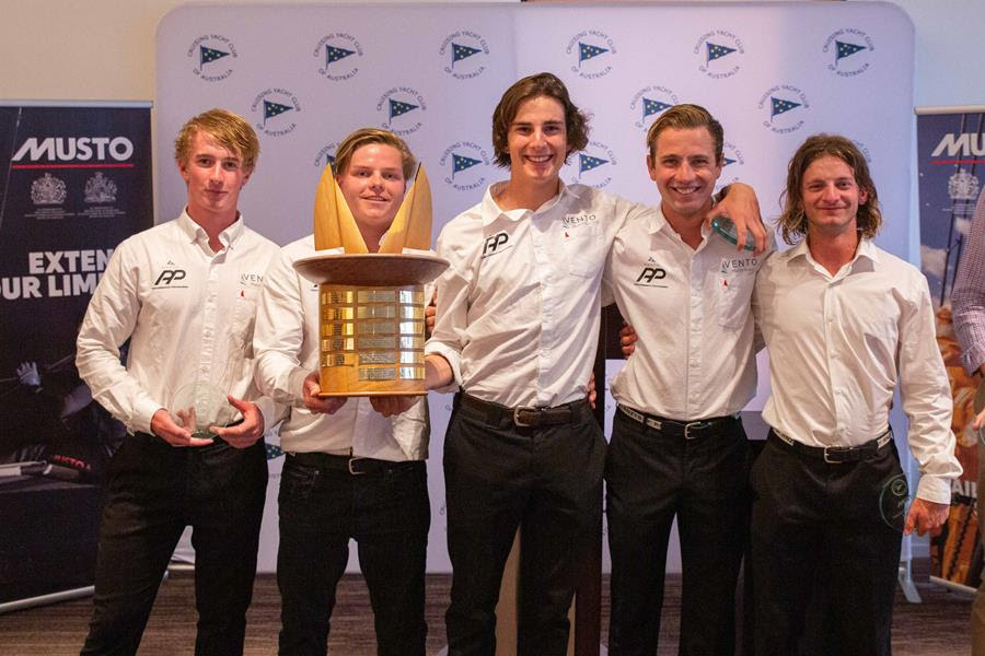 Jordan Stevenson and his team receiving the 'Joy Ride' Trophy. Photo credit - CYCA, Hamish Hard