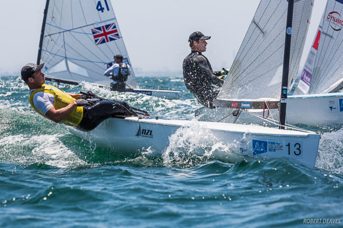 Josh Junior will take a 16-point lead into tomorrow's medal race at the Finn Gold Cup in Melbourne. Photo credit Robert Deaves
