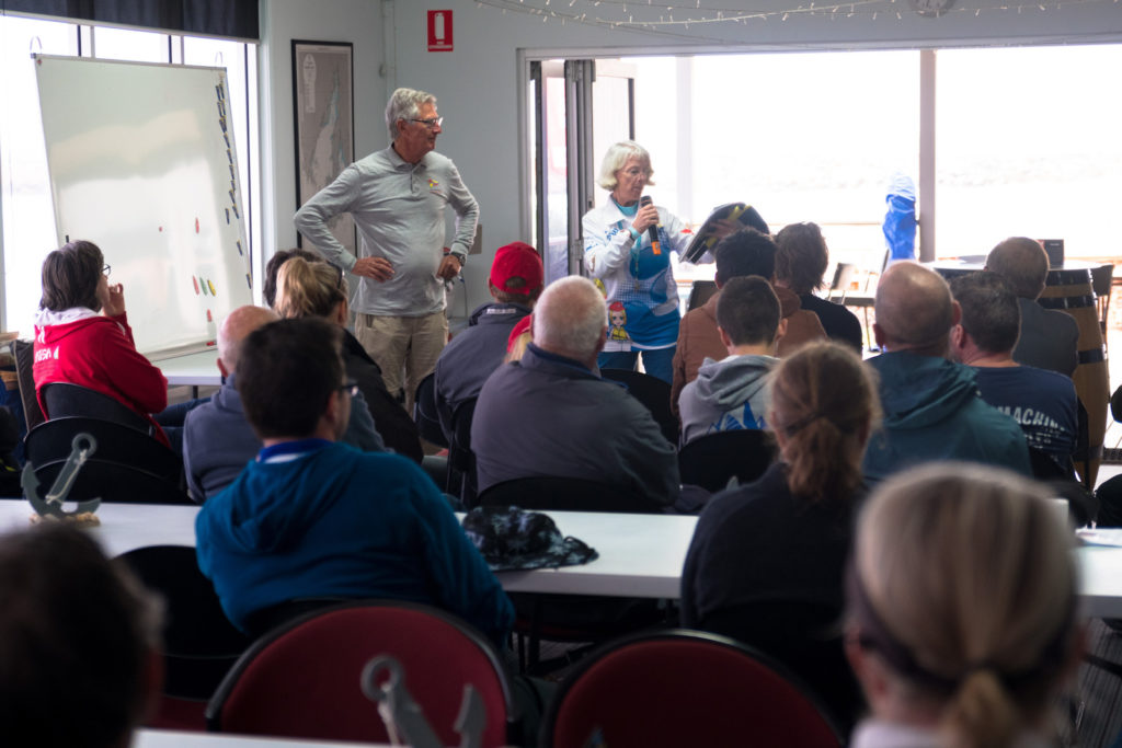 Sailors are briefed by the race committee at the Wallaroo Sailing Club