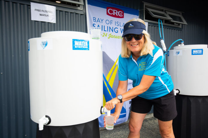 Free water refilling stations at Bay of Islands Sailing Week 2020 could easily have saved 6,000 single use plastic bottles, say organisers. © Lissa Photography | www.lissaphotography.co.nz