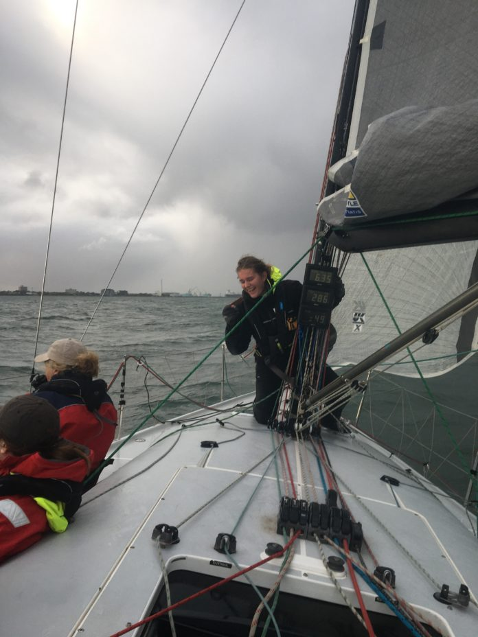 Rain Forbes on Foredeck of Yacht