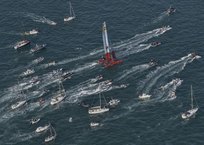 Spanish team buoyed by royal visit as His Majesty King Felipe VI sails onboard F50   Photo Credits to SailGP Media
